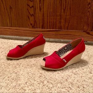 Toms Shoes - Toms Red Wedges (NWOB) size 10